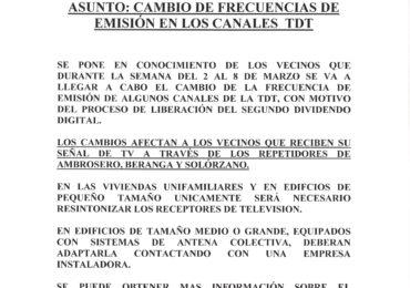 ANUNCIO: CAMBIO DE FRECUENCIAS DE EMISIÓN EN LOS CANALES DE LA TDT