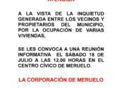 Reunión informativa el sábado día 18 a las 12:00 horas en el Centro Cívico