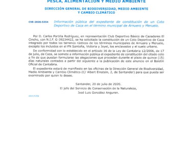 Publicado en el BOC el expediente de constitución de un Coto Deportivo de Caza