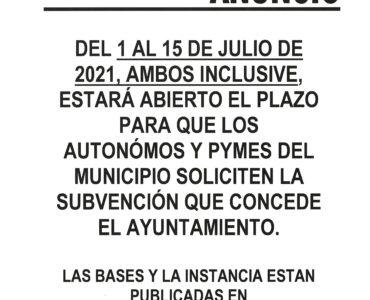 El Ayuntamiento concederá una ayuda directa para autónomos y PYMES